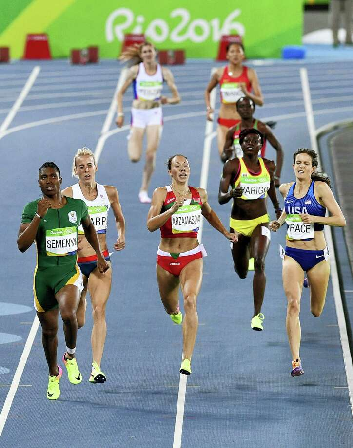 South Africa's Caster Semenya, left, Britain's Lynsey Sharp, second left, Belarus' Marina Arzamasova, center, and United States' Kate Grace, right, compete in a women's 800-meter semifinal on Thursday. Photo: Martin Meissner — The Associated Press   / Copyright 2016 The Associated Press. All rights reserved. This material may not be published, broadcast, rewritten or redistribu