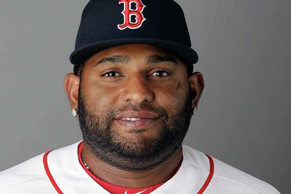 FILE - This Feb. 19, 2017, file photo shows Pablo Sandoval of the Boston Red Sox baseball team. On Friday, July 14, 2017, the Red Sox announced that Sandoval had been designated for assignment after being activated from the 10-day disabled list. (AP Photo/David Goldman, File)