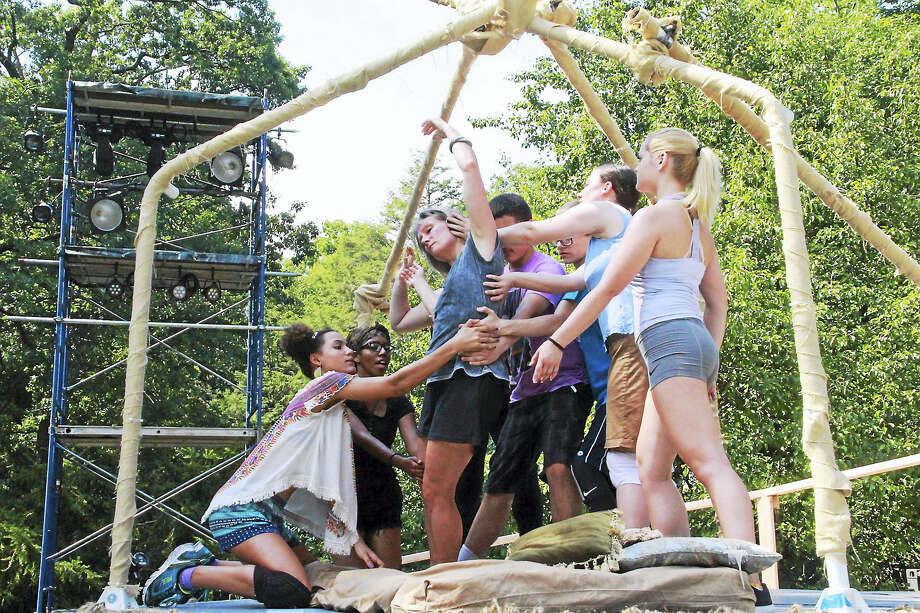 Mike Franzman/Elm Shakespeare  The young cast during rehearsals recently in Edgerton Park. Photo: Journal Register Co.