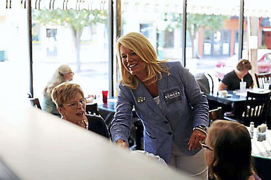 Heather Somers of Groton talking to voters in Southington in 2014 Photo: CTNEWSJUNKIE FILE PHOTO