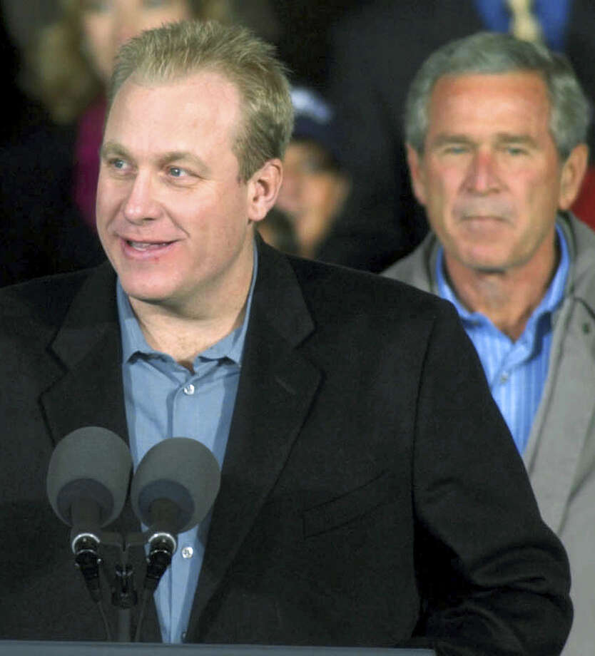 In this file photo, Boston Red Sox pitcher Curt Schilling introduces President George W. Bush at a campaign stop in Burgettstown, Pa. Photo: The Associated Press File PHOTO   / AP2004
