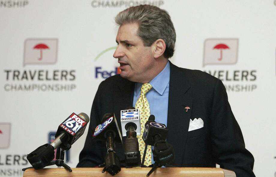 In this 2009 file photo, Travelers chairman and CEO Jay Fishman speaks at a news conference in Hartford. A Connecticut medical center that specializes in the treatment and research of ALS has become the main beneficiary of The Travelers Championship in 2016, Connecticut's stop on the PGA Tour, following the diagnosis of now former-Travelers CEO Fishman. Photo: The Associated Press File Photo   / AP2009