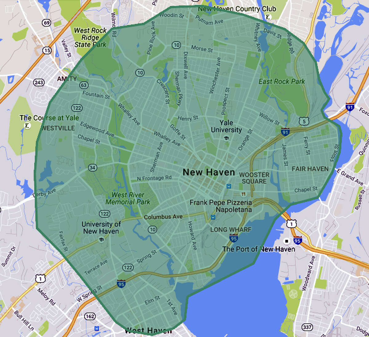 UberEats' current coverage area map, which will grow as more restaurants are added weekly.