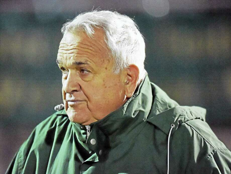 Catherine Avalone/New Haven RegisterNotre Dame head coach Tom Marcucci in his 25th season on the sidelines against Xavier in a 20-0 win for the Green Knights. Marcucci announced his retirement Wednesday. Photo: Digital First Media / New Haven RegisterThe Middletown Press