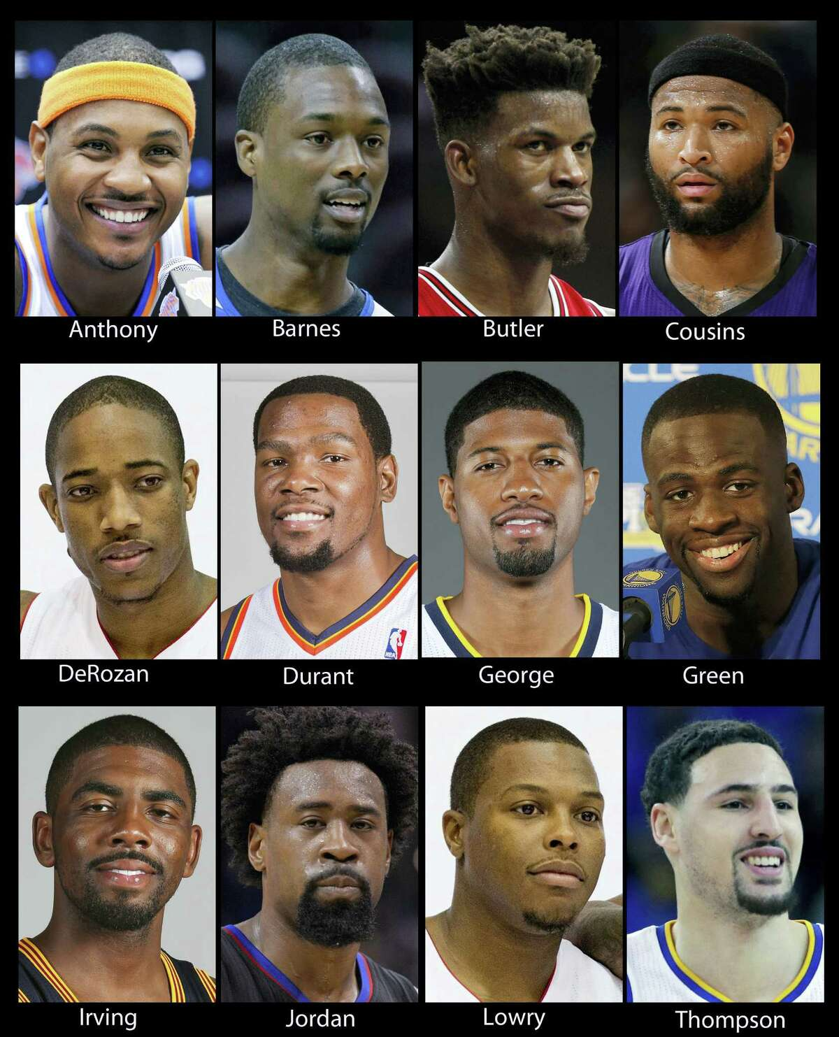While they're not the Dream Team, the U.S. squad in Rio is still an impressive group of players. The team includes: Golden State's Kevin Durant, Klay Thompson and Draymond Green; New York's Carmelo Anthony; Cleveland's Kyrie Irving; Toronto's Kyle Lowry and DeMar DeRozan; Indiana's Paul George; Dallas' Harrison Barnes; Chicago's Jimmy Butler; Sacramento's DeMarcus Cousins and the Clippers' DeAndre Jordan.