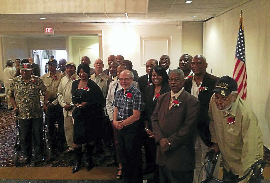 These veterans were honored at the 3rd Annual West Haven Black Coalition Prayer Breakfast Saturday at Fantasia in North Haven. Photo: Mark Zaretsky — New Haven Register