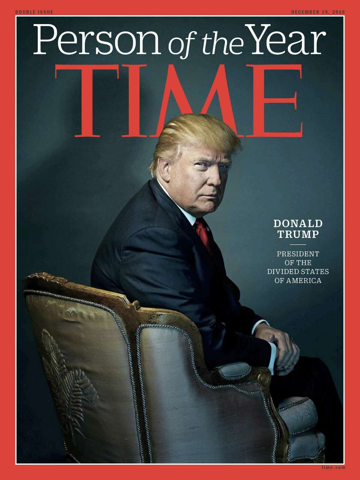 """This image provided by Time magazine, shows the cover of the magazine's Person of the Year edition with President-elect Donald Trump in New York. Time editor Nancy Gibbs said the publication's choice was a 'straightforward' choice of the person who has had the greatest influence on events """"for better or worse."""""""