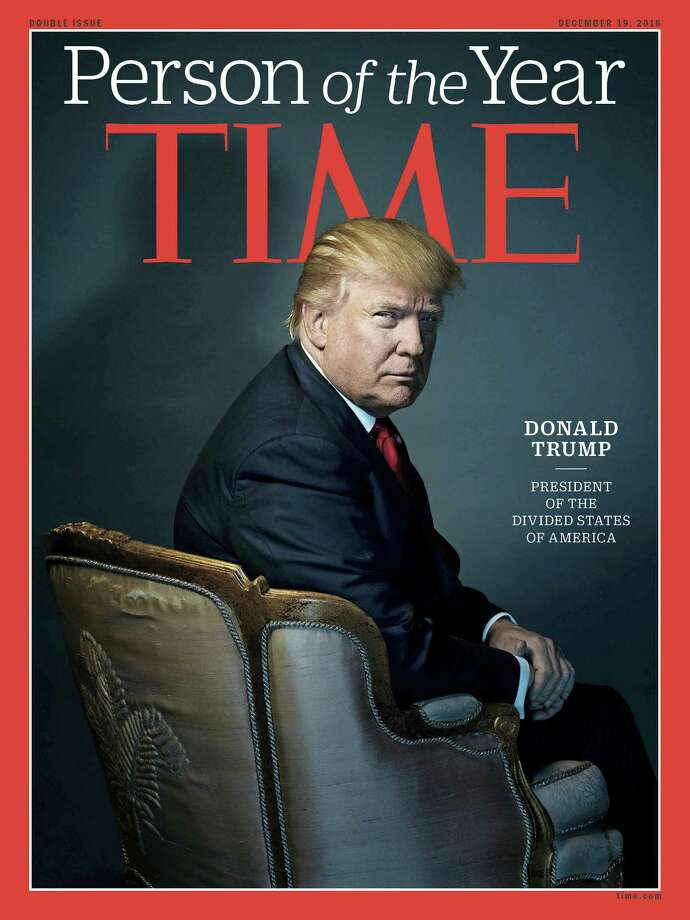 """This image provided by Time magazine, shows the cover of the magazine's Person of the Year edition with President-elect Donald Trump in New York. Time editor Nancy Gibbs said the publication's choice was a 'straightforward' choice of the person who has had the greatest influence on events """"for better or worse."""" Photo: Nadav Kander For Time Magazine Via AP    / Time Magazine"""