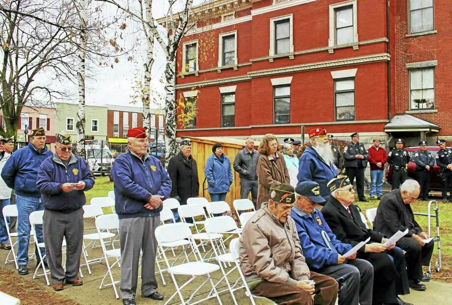 Participants at a Pearl Harbor remembrance Wednesday in Ansonia. Photo: Jean Falbo-Sosnovich — New Haven Register