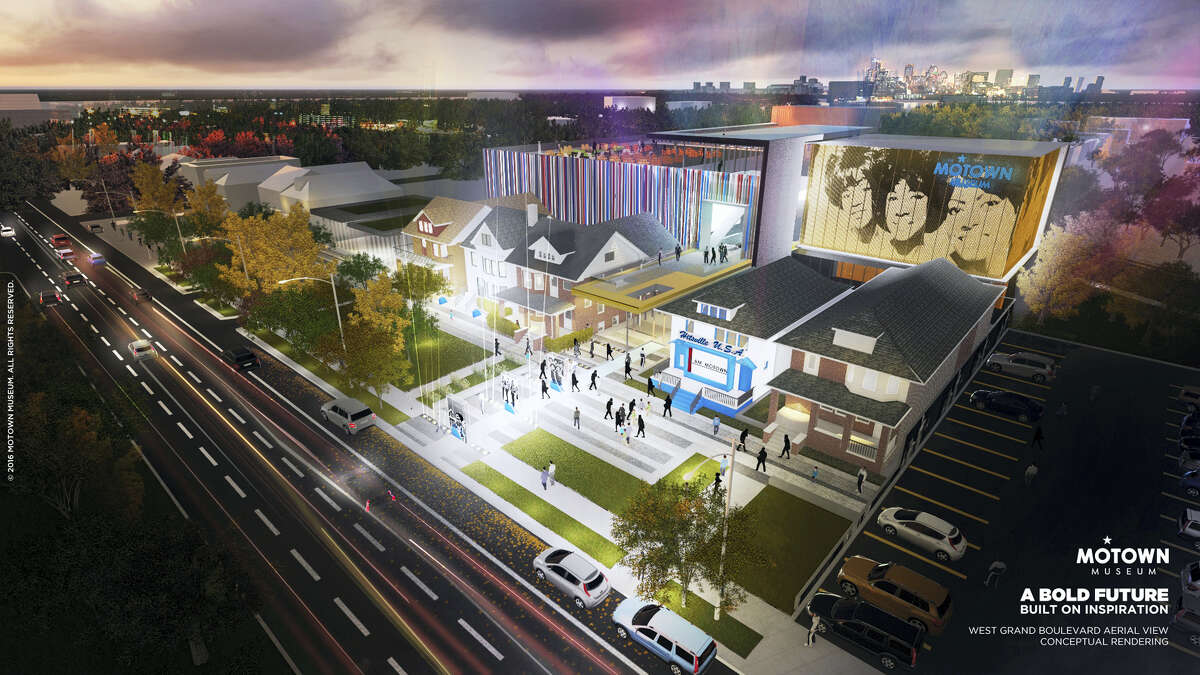 """This artist rendering provided by Identity shows plans for an expansion of the Motown Museum in Detroit that will include interactive exhibits, a performance theater and recording studios. The museum, announced Oct. 17, 2016, is planning the expansion that will be designed and built around the existing museum, which includes the Motown studio with its """"Hitsville U.S.A."""" facade."""