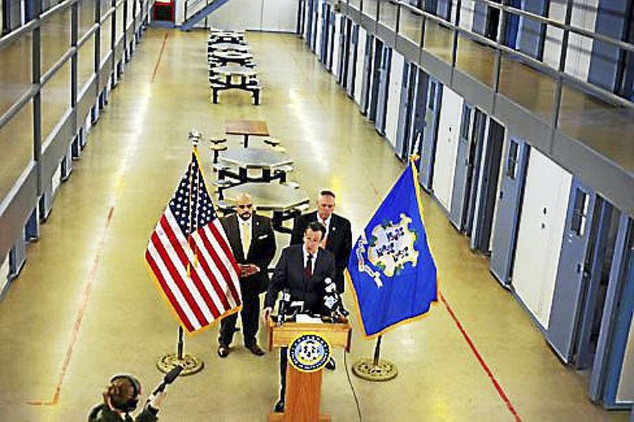 Gov. Dannel P. Malloy with Correction Commissioner Scott Semple and Osborn Warden Edward Maldonado. Photo: Christine Stuart — CT News Junkie