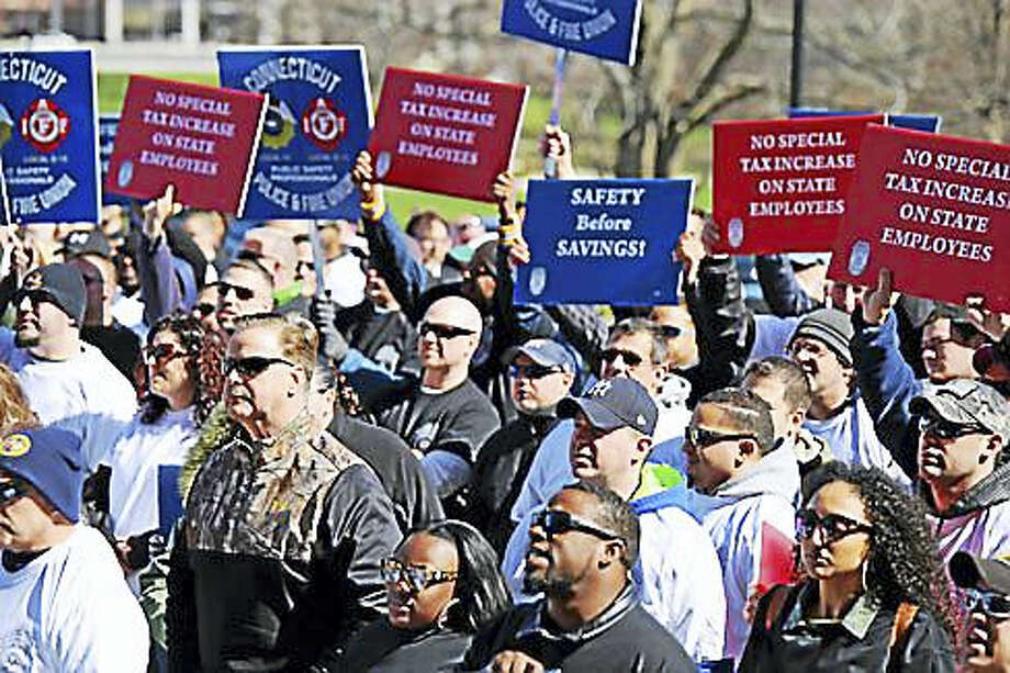 Public Safety workers, including Correction officers, rally at the state Capitol in March. Photo: CTNewsJunkie File Photo
