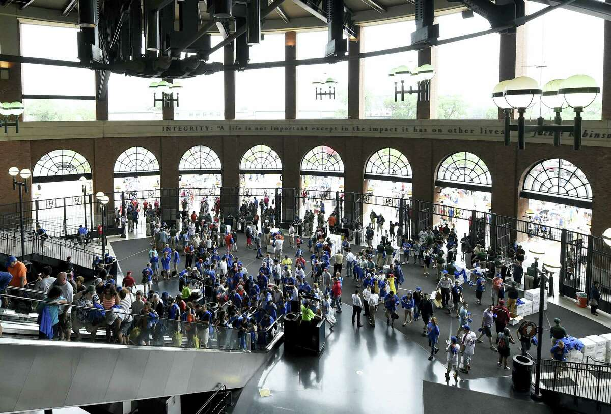 Mets fans enter the Jackie Robinson Rotunda at Citi Field in New York.