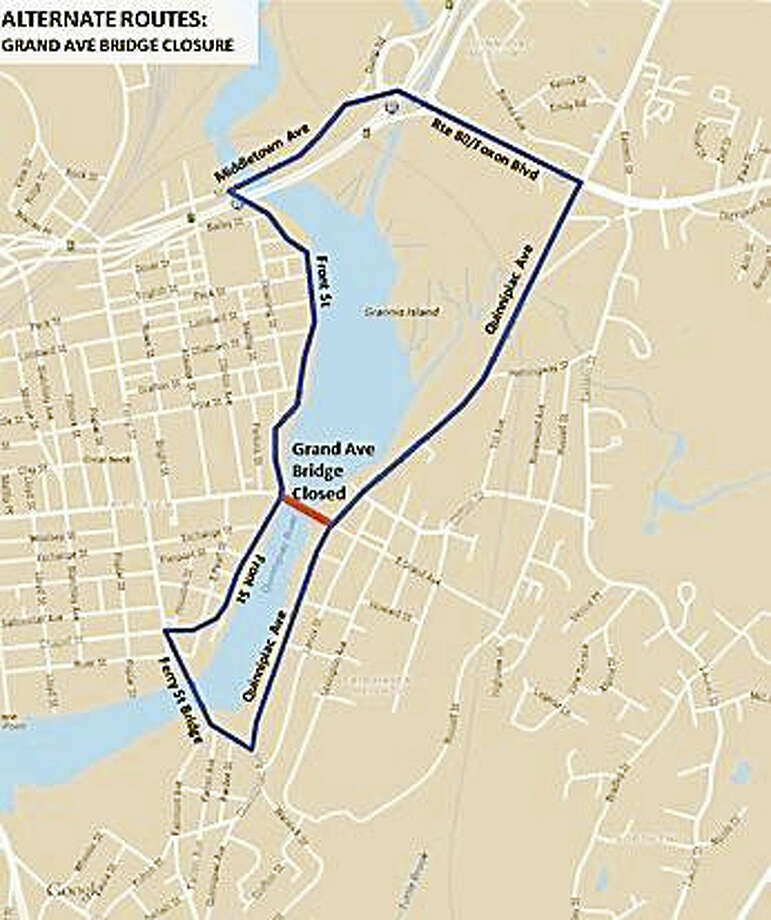 The detour route as the Grand Avenue Bridge will be closed for routine maintenance on Saturday, December 10 from 9 a.m. to 3 p.m. Photo: Digital First Media