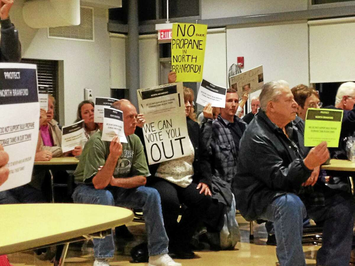 North Branford residents protest a propane storage proposal at a 2014 Conservation & Inland Wetlands & Watercourses Agency meeting.