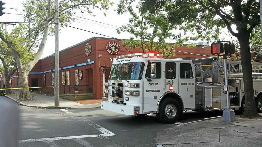 New Haven Fire Department responded to a fire at Chabaso Bakery Thursday afternoon. Photo: Anna Bisaro — New Haven Register
