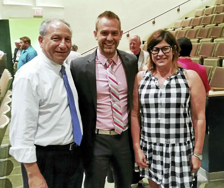 From left, James Pascarella, the endorsed candidate for the 88th District; primary challenger Joshua Elliott; and Republican candidate Marjorie Bonadies at the League of Women Voters Democratic debate Thursday night in Hamden Photo: KATE RAMUNNI — NEW HAVEN REGISTER