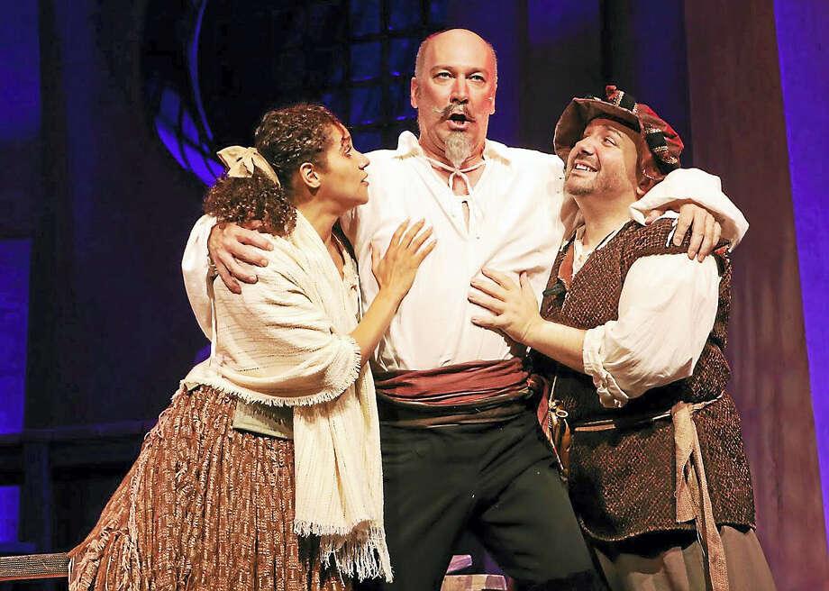 "From left, Thalia Thiesfield, David Pittsinger and Brian Michael Hoffman as Dulcinae, Quixote and Sancho in ""Man of La Mancha."" Photo: Photo Courtesy Of Ivoryton Playhouse"