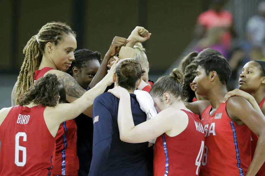 The United States women's basketball team huddles at mid court after beating China on Saturday. Photo: Carlos Osorio — The Associated Press    / Copyright 2016 The Associated Press. All rights reserved. This material may not be published, broadcast, rewritten or redistribu