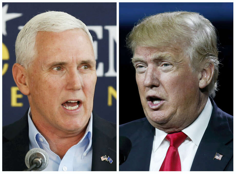 This photo combination of file images shows Indiana Gov. Mike Pence, left, and Republican presidential candidate Donald Trump. A major shake-up for Indiana politics could be coming this week as Trump considers Pence as his Republican vice presidential choice. Pence attended a fund-raising event and rally in Indiana with Trump on Tuesday. Photo: AP Photos — Michael Conroy, David Zalubowski    / AP
