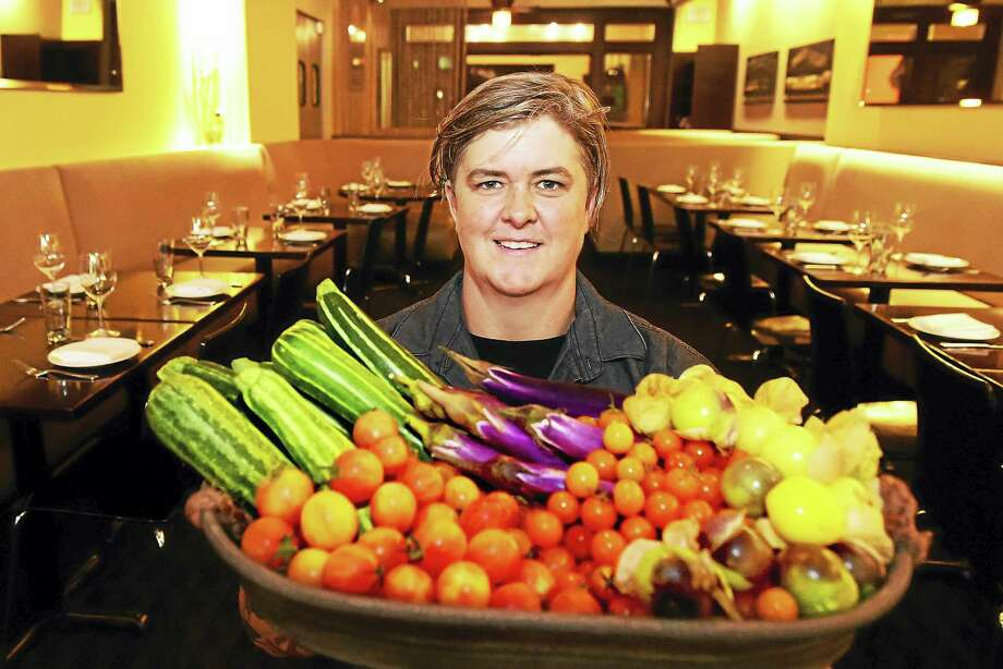 Chef / Owner Denise Appel of Zinc restaurant in New Haven with local zucchini, Asian Eggplant, Sungold cherry tomatoes, Bumblebee cherry tomatoes, and Strawberry Husk tomatillos from Urth Farms in New Britain at Zinc. Photo: Peter Hvizdak - New Haven Register   / ©2016 Peter Hvizdak