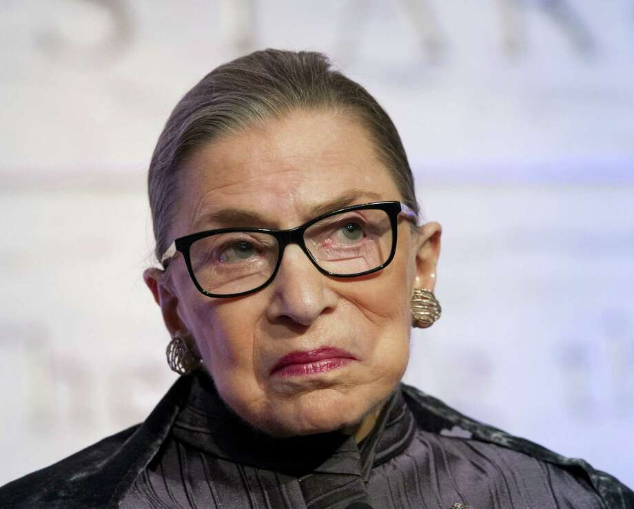 "In this June 1, 2016, file photo, Supreme Court Justices Ruth Bader Ginsburg speaks in Washington. Ginsburg says she doesn't want to think about the possibility of Donald Trump winning the White House, and predicts the next president, ""whoever she will be,"" probably will have a few appointments to make to the Supreme Court. Photo: AP Photo/Cliff Owen, File    / (C)Cliff Owen"