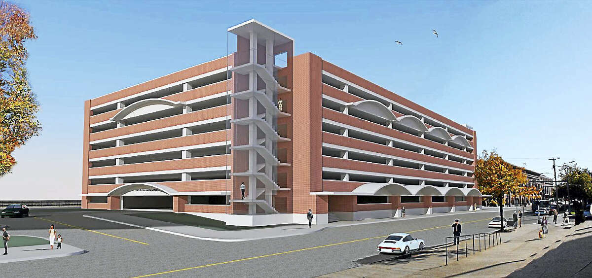 Rendition provided by the state Department of Transportation of the proposed new garage at New haven's Union Station, as it looked in June. The DOT said it is likely to be revised as the agency is seeking input from the city.