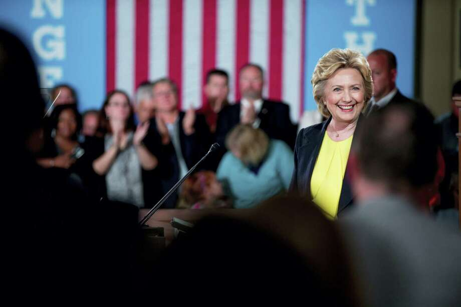 Democratic presidential candidate Hillary Clinton smiles at members of the audience as she finishes speaking at the Old State House in Springfield, Ill., Wednesday. Photo: THE ASSOCIATED PRESS   / Copyright 2016 The Associated Press. All rights reserved. This material may not be published, broadcast, rewritten or redistribu