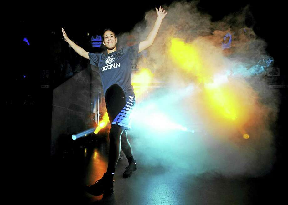Connecticut's Kia Nurse is introduced during the men's and women's NCAA basketball teams' First Night event, Friday, Oct. 16, 2015, in Storrs, Conn. (AP Photo/Jessica Hill) Photo: AP / FR125654 AP