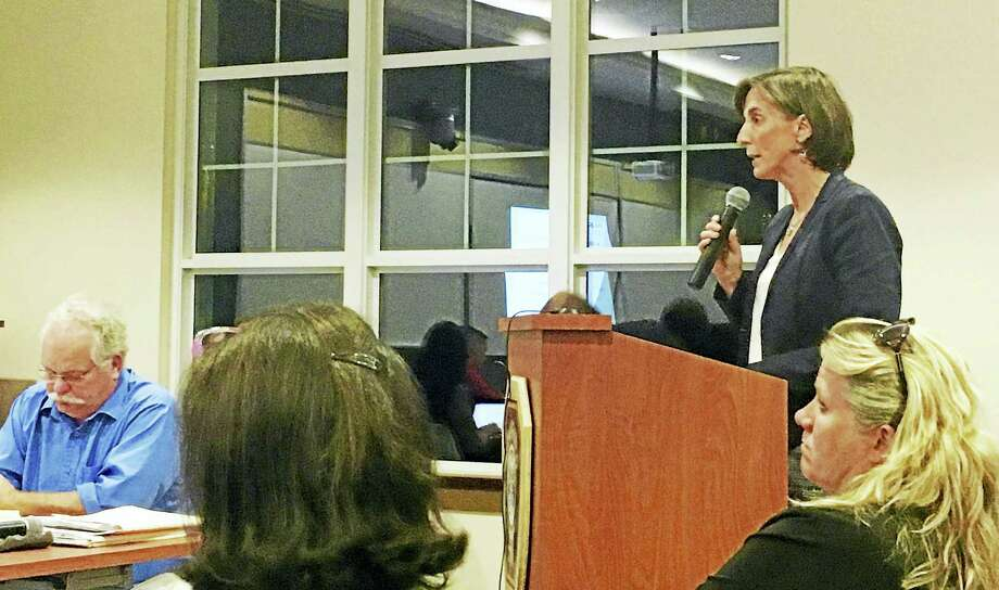Dara Kovel, president of Beacon Communities LLC, addresses the Planning and Zoning Commission during Thursday night's public hearing on a proposal to redevelop Parkside Village I into a low-income housing complex for general occupancy. Photo: Sam Norton — New Haven Register