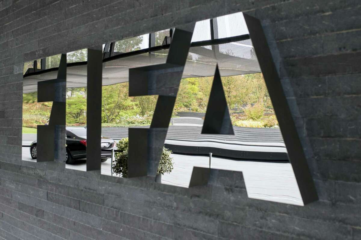The FIFA logo is pictured prior to the FIFA Council meeting in Zurich, Switzerland on Friday.
