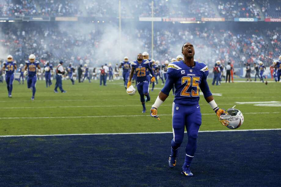 Chargers defensive back Darrell Stuckey (25) reacts before a game against the Broncos in San Diego. Photo: The Associated Press File Photo   / Copyright 2016 The Associated Press. All rights reserved.