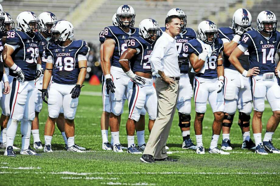 UConn coach Bob Diaco watches his team practice before a game in 2014. Photo: The Associated Press File Photo   / AP2014