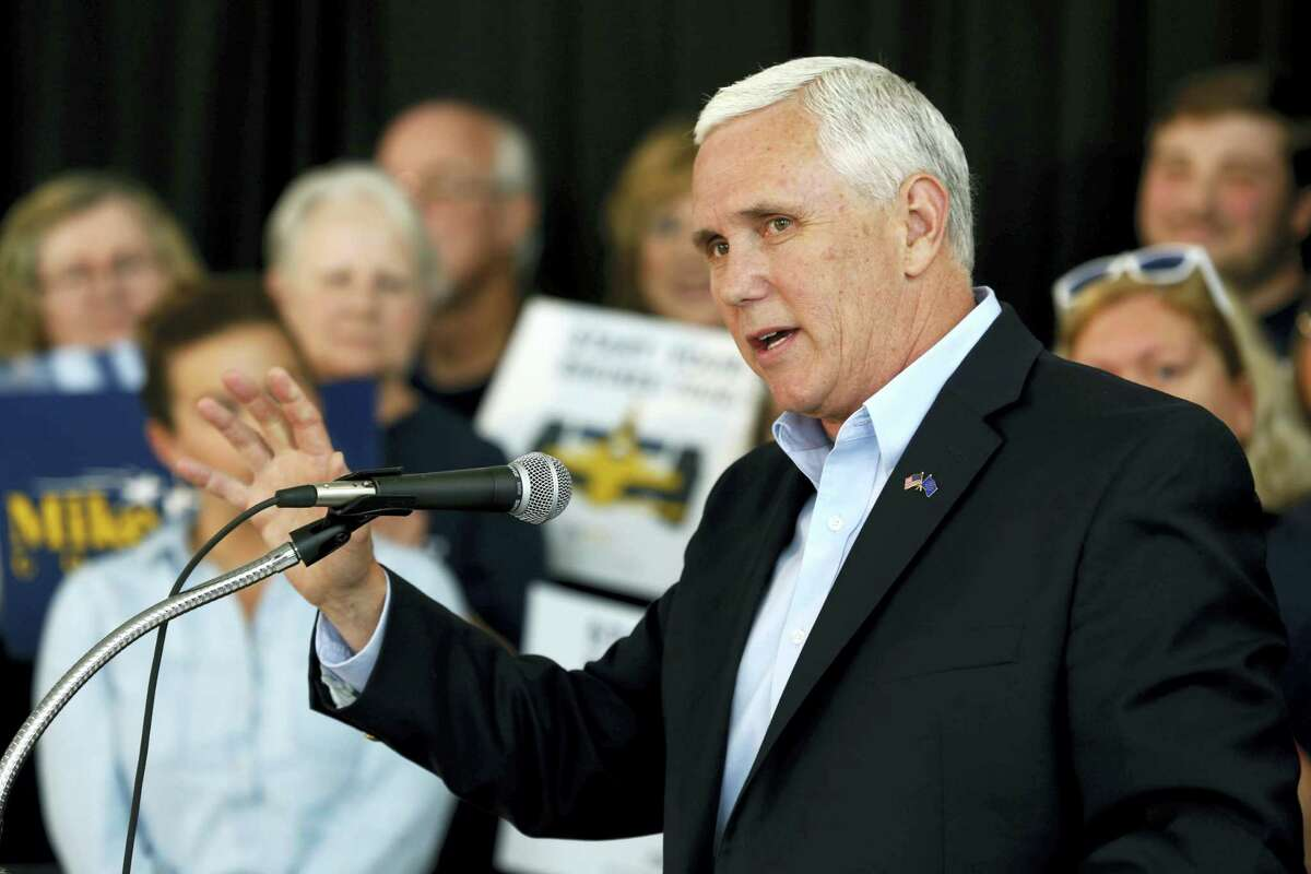 Indiana Gov. Mike Pence launches his campaign for re-election during an event in Indianapolis.