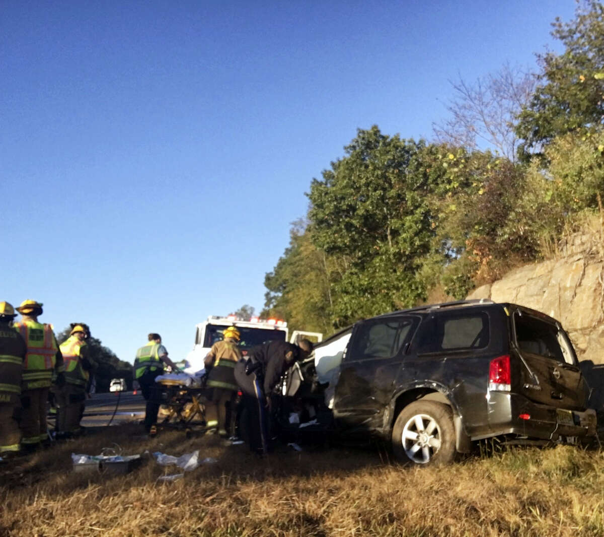 State police and emergency crews responded to a rollover crash Friday morning on Route 8 southbound in Shelton. State police said the crash involved non-life threatening injuries.