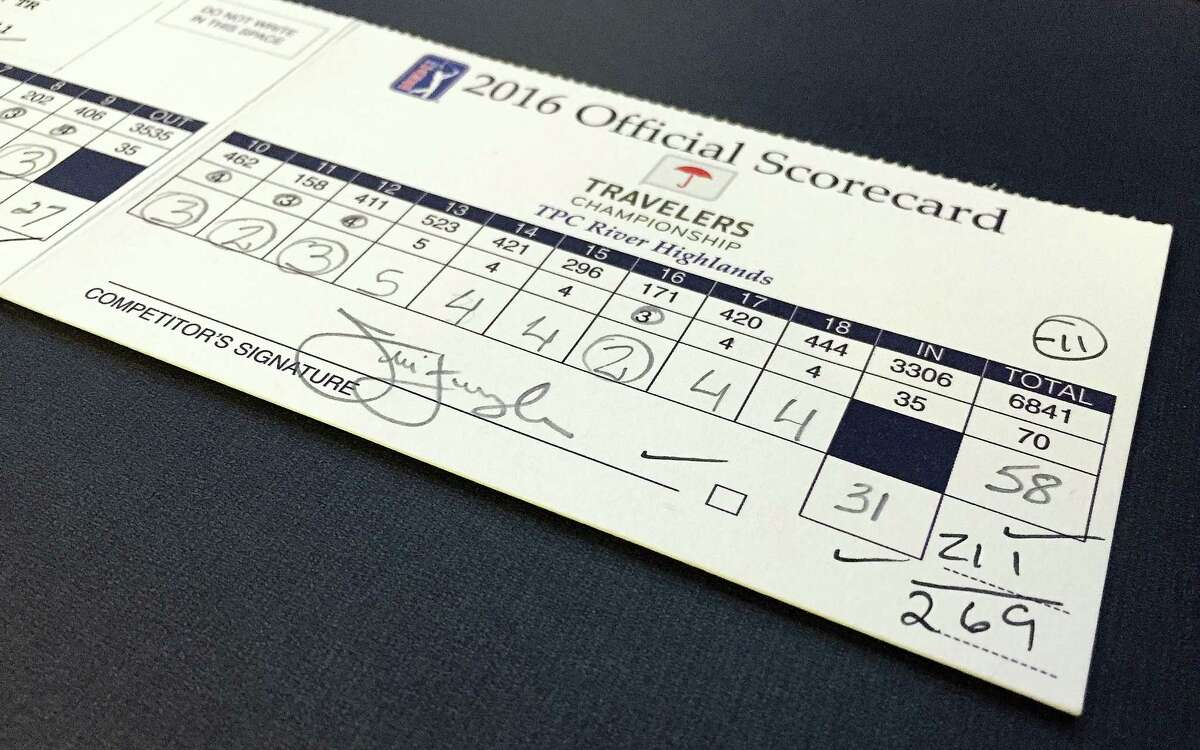 Golfer Jim Furyk's scorecard from his record round of 58 is displayed at the World Golf Hall of Fame in St. Augustine, Fla.