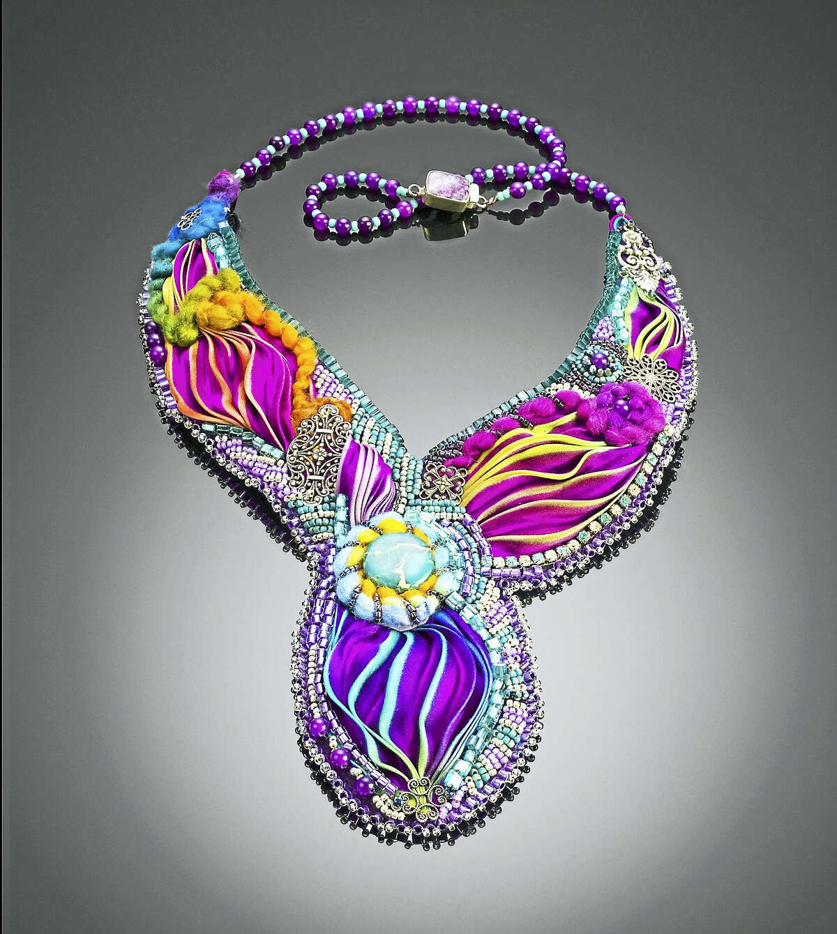 Gini Weslowski's Shibori necklace.