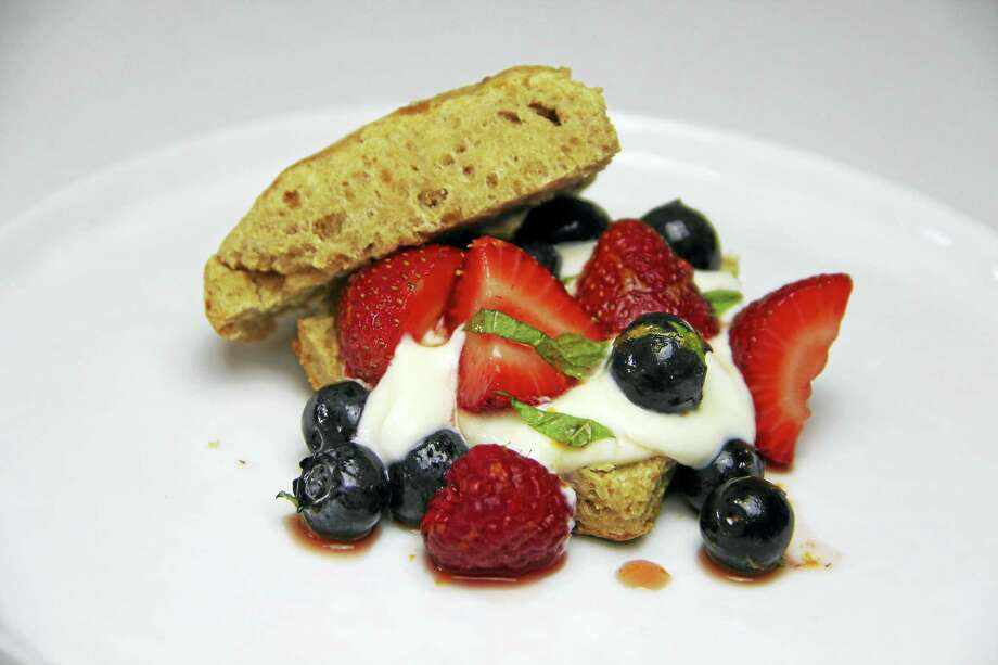 This cinnamon biscuit berry shortcake recipe includes a little extra fiber and protein by subbing out half the white flour with whole wheat flour. Photo: Melissa D'Arabian — The Associated Press   / AP