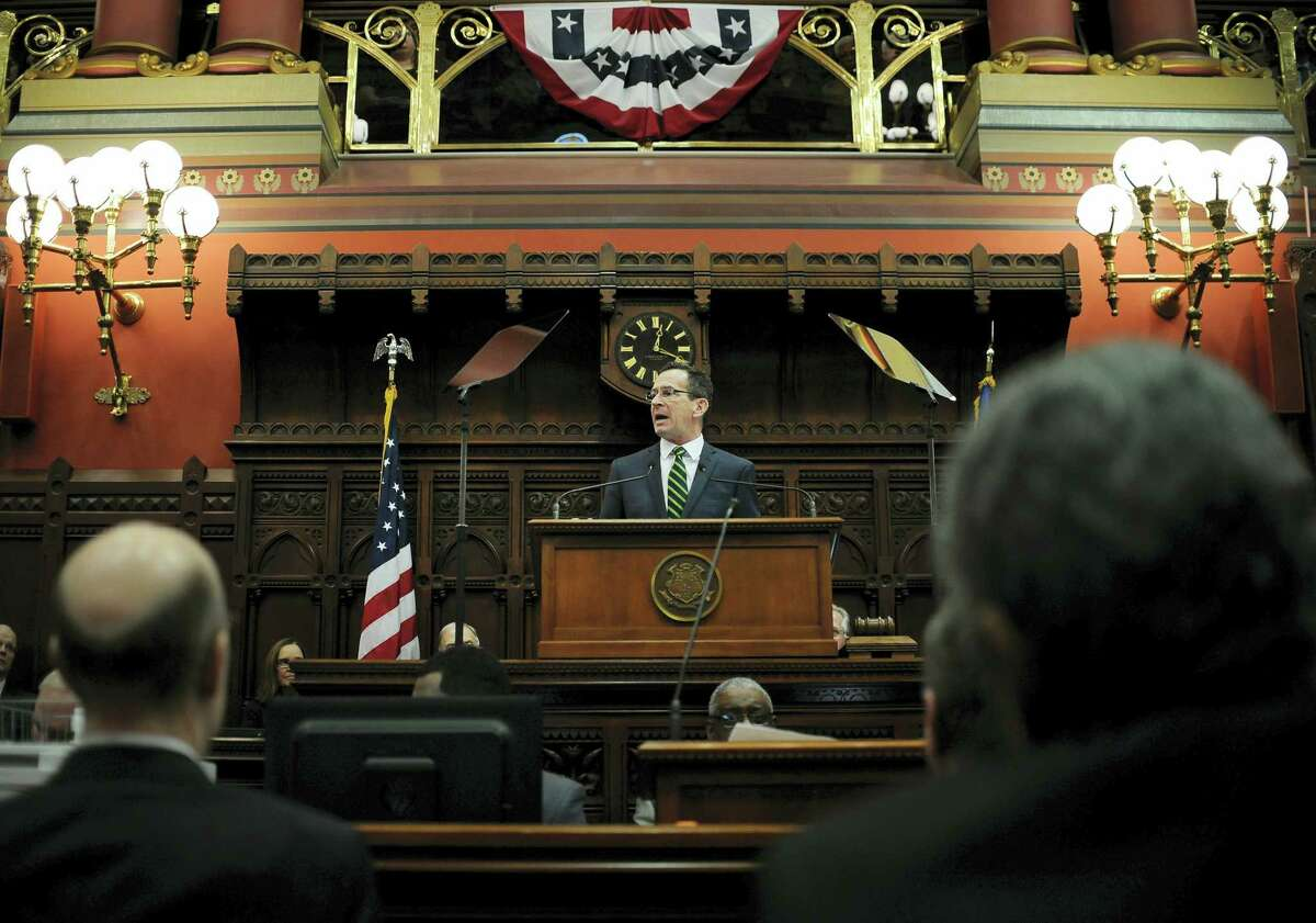 Connecticut Gov. Dannel P. Malloy delivers his budget address at the legislature in Hartford in February.