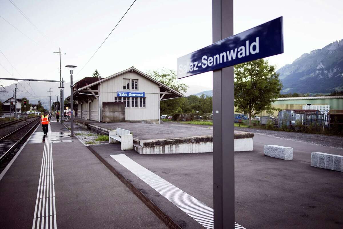 The train station is deserted at Salez - Sennwald following an attack aboard a train when a man attacked other passengers aboard the train at Salez, Switzerland, on Saturday, Aug. 13, 2016. Police in Switzerland say a Swiss man set a fire and stabbed people on a train in the country's northeast, wounding six people some seriously, and injuring himself.