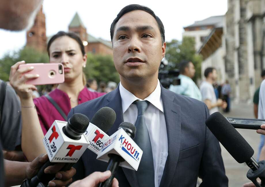 FILE - U.S. Rep. Joaquin Castro, D-San Antonio, answers questions from the media after a candlelight vigil held, Sunday July 23, 2017 at San Fernando Cathedral, for the immigrants who died after they were trapped inside a tractor-trailer at a Walmart parking lot. On Wednesday, Castro issued a statement denouncing President Trump's latest comments on North Korea. Photo: Edward A. Ornelas, Staff / San Antonio Express-News / © 2017 San Antonio Express-News