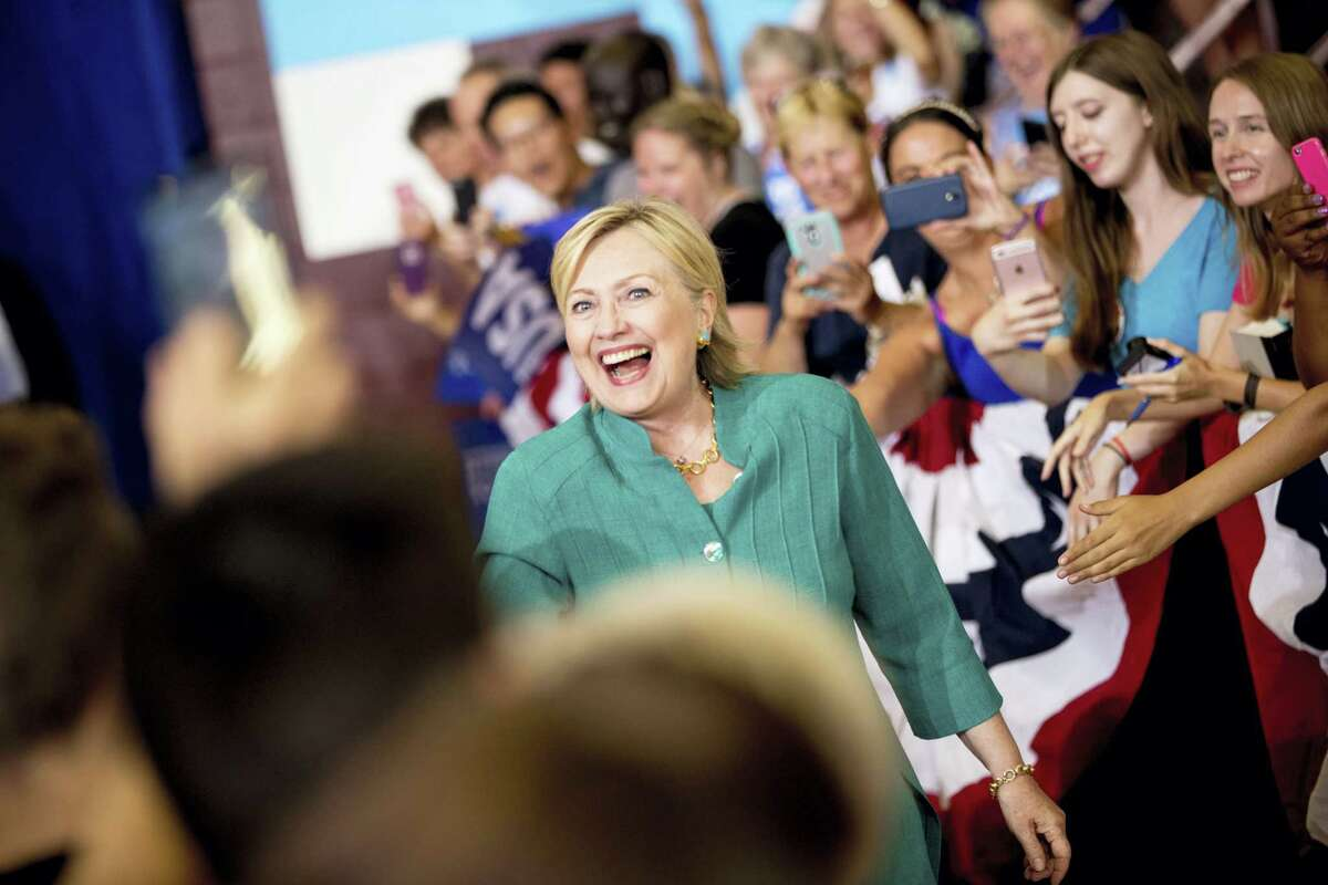 Democratic presidential candidate Hillary Clinton arrives to speak at a rally at Abraham Lincoln High School, in Des Moines, Iowa.