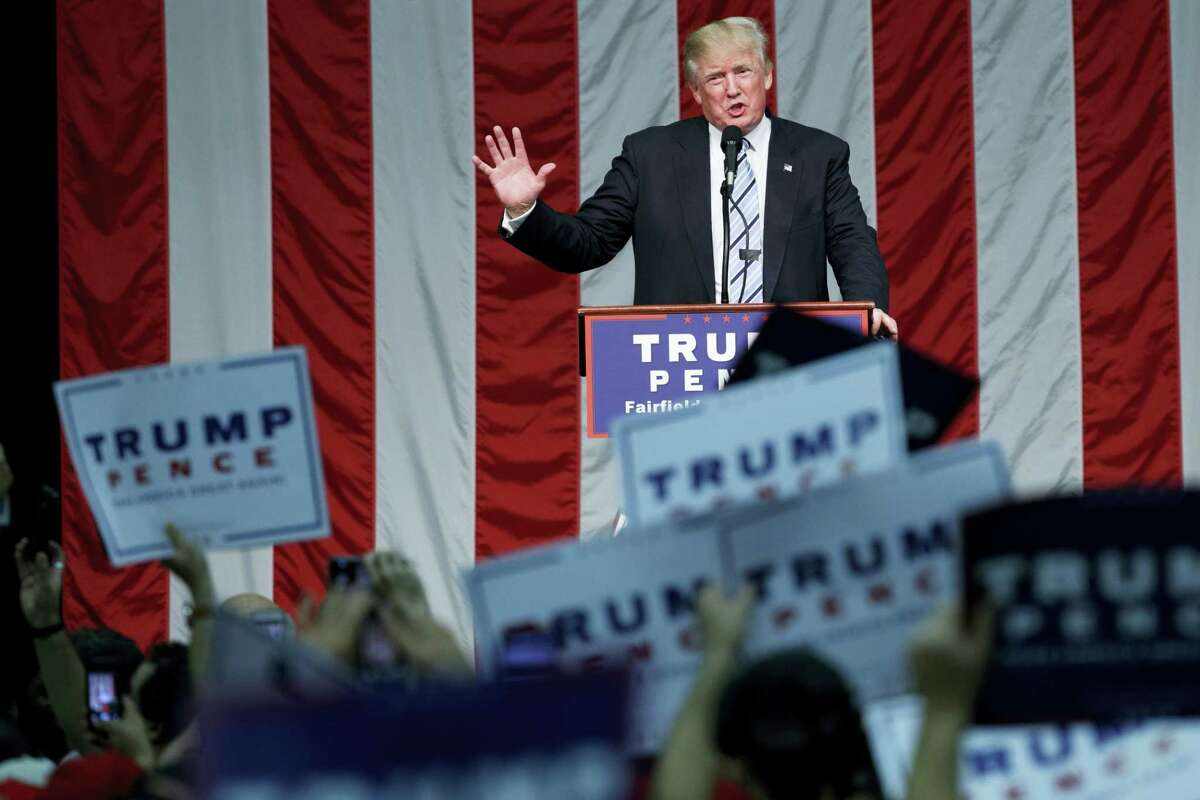 Republican presidential candidate Donald Trump speaks during a campaign rally on Saturday at Sacred Heart University in Fairfield.