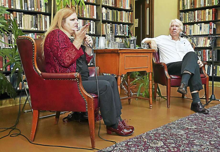 Tricia Griffith, owner of Websleuths.com, speaks at the Institute Library in New Haven Aug. 5. Griffith was interviewed by author Jack Hitt. Photo: Catherine Avalone — New Haven Register   / New Haven RegisterThe Middletown Press