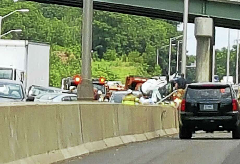 Traffic on Interstate 95 was backed up for miles after a multi-vehicle crash that left a 12-year-old girl seriously hurt. Photo: Shahid Abdul-Karim — New Haven Register