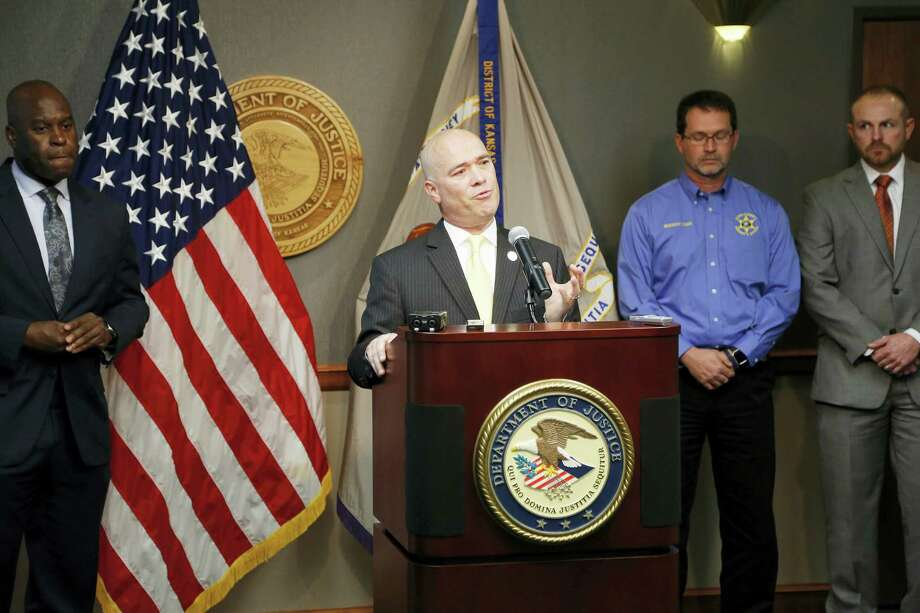 Acting U.S. Attorney Tom Beall announced Friday, Oct. 14, 2016,  a major federal investigation stopped a domestic terrorism plot by a militia group to detonate a bomb at a Garden City apartment complex where a number of Somalis live. Two Liberal men and a Dodge City resident were arrested and charged in federal court with domestic terrorism charges. Photo: Bo Rader — The Wichita Eagle Via AP / The Wichita Eagle