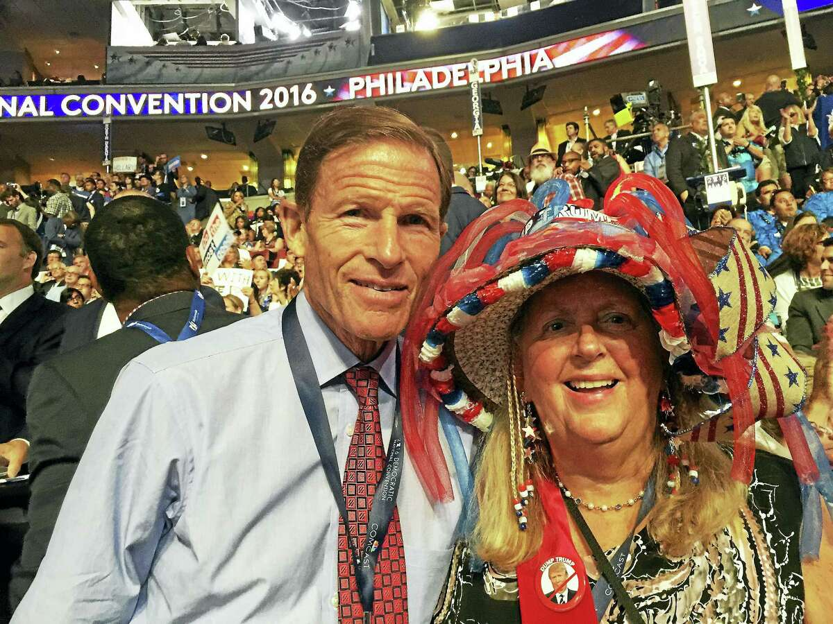 U.s. Sen. Richard Blumenthal and Torrington attorney and Litchfield resident Audrey Blondin, who is representing the Connecticut Democrats' State Central Committee, share a moment at the Democratic National Convention in Philadelphia on Tuesday, July 26, 2016. (Contributed photo)