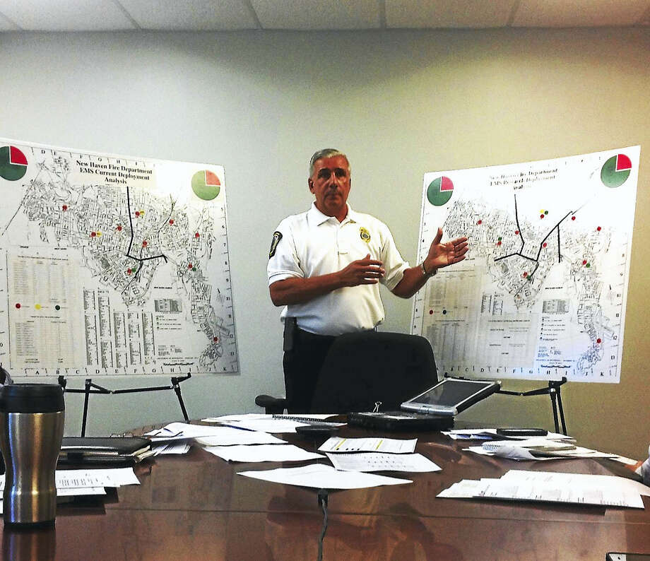 Rick Fontana, deputy director, operations, New Haven Office of Emergency Management, speaks to New Haven Register Editorial Board about the city plan for the Fire Department. Photo: Journal Register Co.