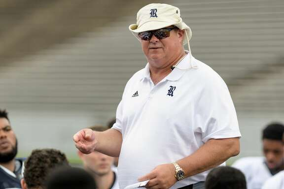 Rice Owls Head Coach, David Bailiff talks to his team after  the inter squad scrimmage on Saturday, August 13, 2016 at Rice Stadium in Houston Texas.