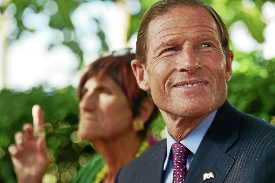 U.S. Sen. Richard Blumenthal and U.S. Rep. Rosa L. DeLauro Aug. 19, 2015, in Ansonia. Photo: Catherine Avalone — New Haven Register File Photo   / Catherine Avalone/New Haven Register